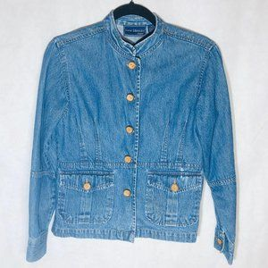 New Identity jean jacket blue floral embroidered